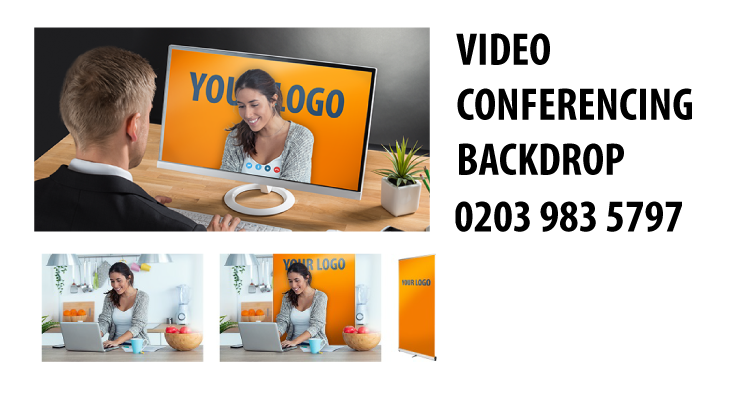Video conferencing zoom interview backdrop office